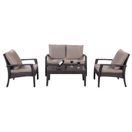 Costway 4pc Patio Rattan Furniture Set Tea Table &Chairs Outdoor Garden Steel Frame