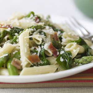 Penne with Asparagus, Spinach, and Bacon Recipe