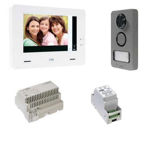 Interphone vidéo mains libres Urmet Mininote Plus 1722/85. Fonctionnalités domotique pour piloter les lumières, le portail etc directement depuis l'interphone.