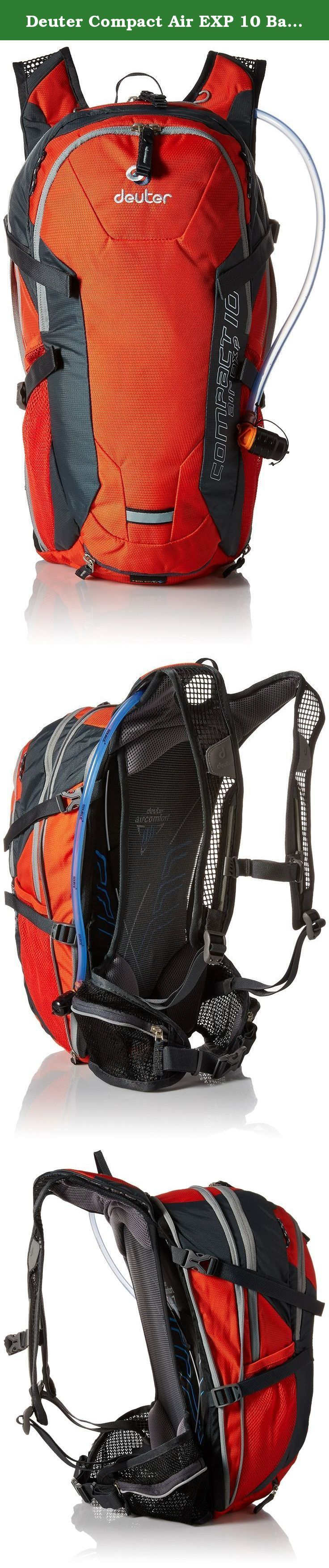 Deuter Compact Air EXP 10 Backpack with 3L Reservoir - Papaya/Granite. Multi-talented bike backpack with maximum back ventilation in the female specific version. The women's rucksack features a flexible spring steel frame and an effective, three sided ventilation system - high carrying comfort, low weight! Mesh shoulder straps, mesh hip fins with two zipped mesh pockets and Aircomfort FlexLite back system for three-sided ventilation. Hydration system compatible with separate bladder...