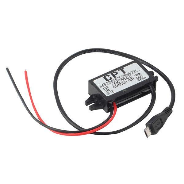 1 pc kualitas tinggi car charger dc converter module 12 v untuk 5 v 3a 15 w dengan micro usb cable terbaru gratis pengiriman