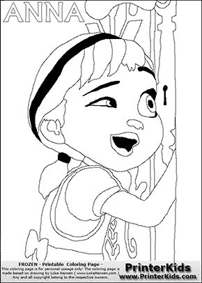 Coloring Page With ANNA From The 2013 Movie By DISNEY PIXAR Called FROZEN FROST In