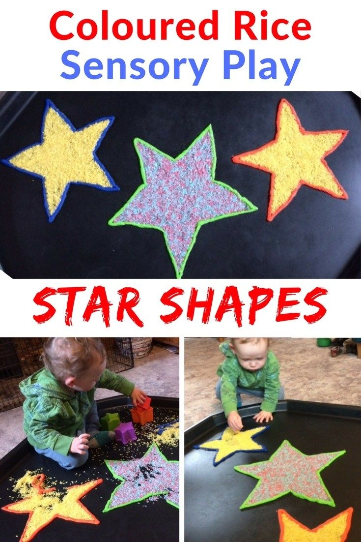 Rice Sensory Play Ideas for Kids. This fun food colouring project is great for fine motor skills is great for children and toddlers at home.  How to create coloured rice shape star sensory tuff spot with left over play dough and a bit of imagination.  This fun art project is great for parents as well as the child.  Set up this invitation to play while your toddler sleeps for guaranteed smiles and a bit of re-enforced learning.
