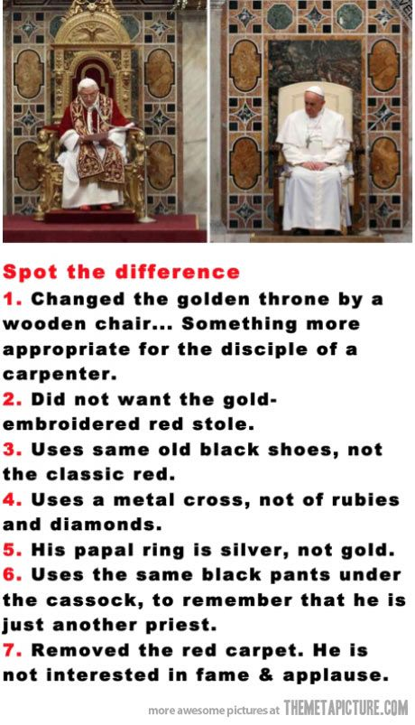Old Pope vs. New Pope…i'm not catholic but you really have to respect the new pope!