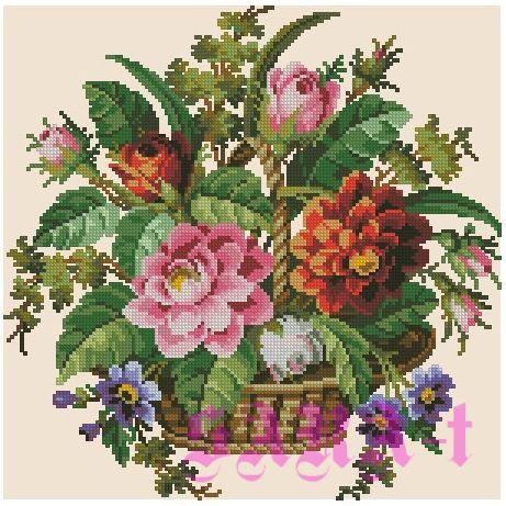 Gallery.ru / Фото #1 - Букет цветов в корзинке - SARA-t