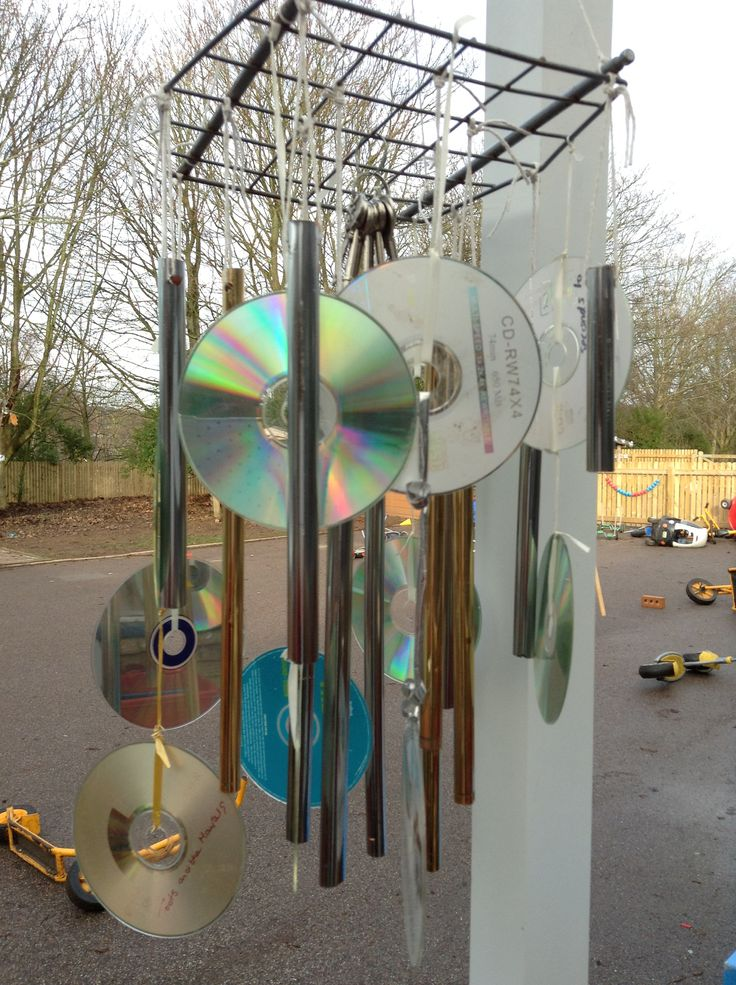 Home-made CD/pipe wind chime