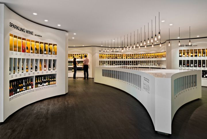 A beautiful wine shop. A gallery for labels.   Diageo concept store by Fourfoursixsix, Bangkok