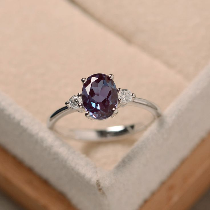 Oval alexandrite ring, silver, alexandrite jewelry, gemstone ring by LuoJewelry on Etsy https://www.etsy.com/listing/279423676/oval-alexandrite-ring-silver-alexandrite