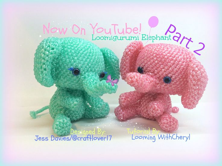 Rainbow Loom Elephant (Part 2 of 2) Loomigurumi Amigurumi Hook Only слон Лумигуруми. Designed By Jess Davies, also known as @ Craftlover17 on instagram. Tutorial Brought to you By Looming With Cheryl. Figures, stuffed Toy, Zoo, animals.
