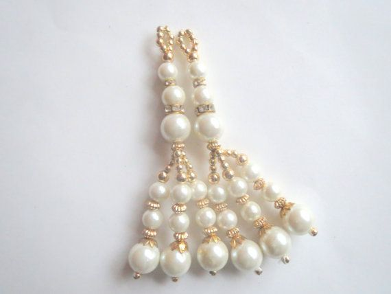 Ivory pearl and Golden Glass Bead Traditional by CraftyJaipur