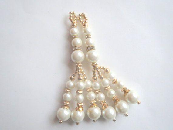 Ivory pearl Golden Glass Bead Traditional Tassel/ by CraftyJaipur