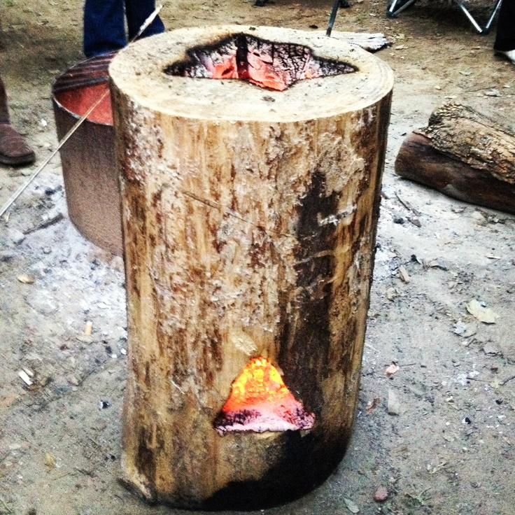Self feeding fire log. Great for camping and backyard