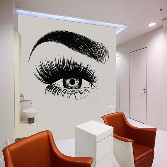 5047ff4df18 Wall Decal Window Sticker Beauty Salon Woman Face Eyelashes Lashes Eyebrows  Brows t43