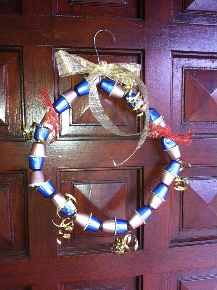 Christmas wreath made with nespresso capsules