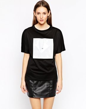 BACK by Ann Sofie Huge Logo Patch Short Sleeve T-Shirt