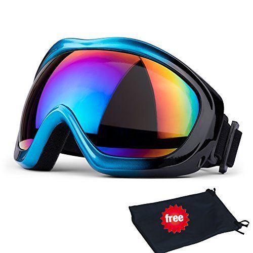 Lunettes de ski, JTENG Masques Snowboard de Protection Ski Lunettes, Ski Goggles Coupe-Vent, Lentilles Antiéblouissant & Anti-poussière…