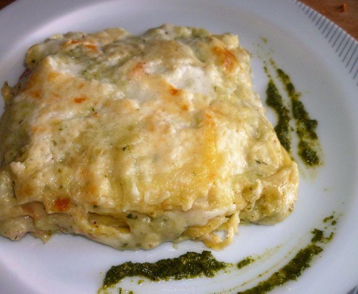 Lasagne al forno con purea di patate e pesto