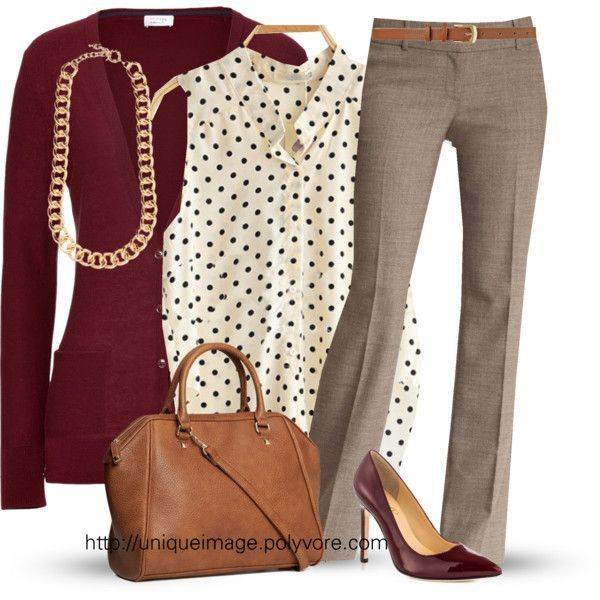 CLOSED Wool-Cashmere Cardigan in Deep Red/cream and black polka dot tom/tan pants/camel bag/deep red shoes