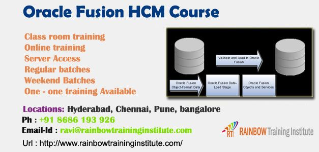 Rainbow Training Institute is a leading training institute offering job oriented class room and online trainings with experiance faculty with online support on Oracle  Fusion Finance Functional course , Oracle  Fusion HCM Course, Oracle  Fusion DBA Course inHyderabad, Pune, Chennai, Mumbai