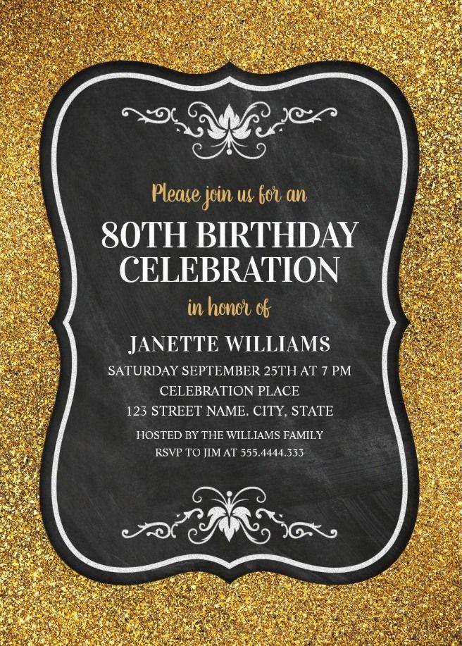 Glitter Adult 80th Birthday Party Invitations Chalkboard Gold Invitation Templates Elegant Custom