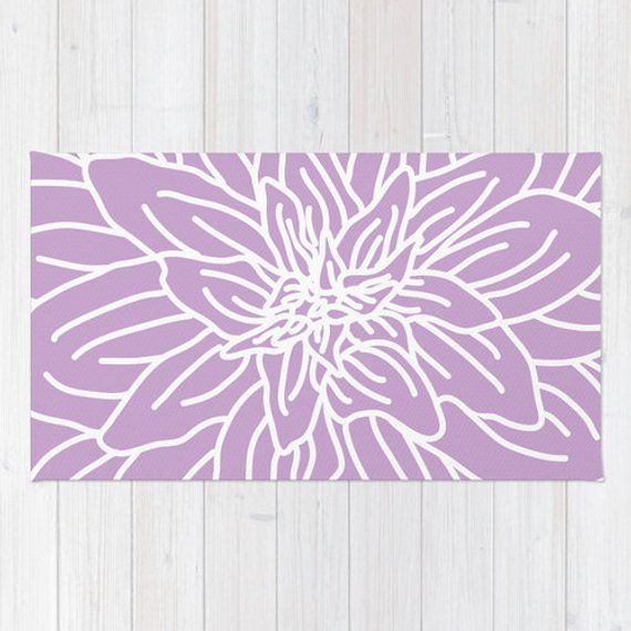 Abstract Flower Area Rug In Lavender Purple And White Lines Etsy Flower Rug Modern Area Rugs Nursery Area Rug
