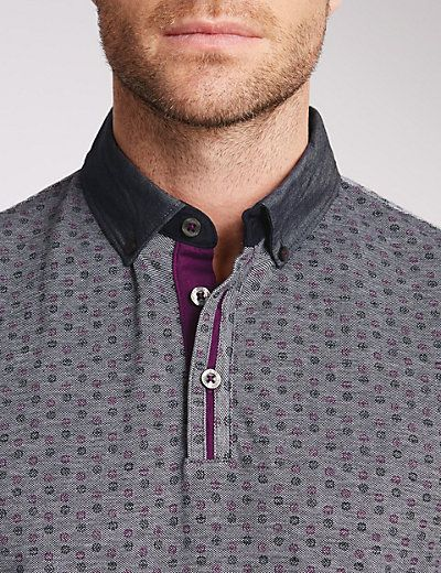Pure Cotton Tailored Fit Floral Polo Shirt | M&S