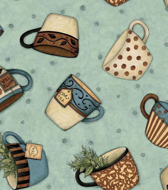 Susan Winget Quilt Fabric-Tea For Two Tossed Cups, , hi-res