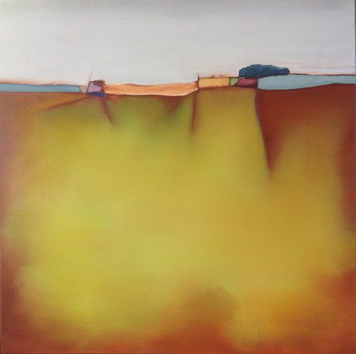 Golden Vista Yellow abstract oil painting 60 x 60 cm