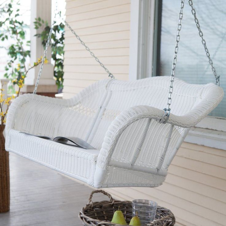 coral coast casco bay resin wicker porch swing with optional cushion harbor walnut cwr018163 - Front Porch Swing