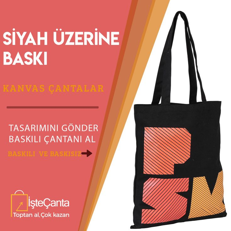 Baskılı siyah kanvas çantalar kapınıza kadar geliyor! Tasarımlarınızı destek@istecanta.com mail adresine gönderebilir, sipariş verebilirsiniz. #bezcanta #siyahcanta #kanvas #baskili #toptan #totebag
