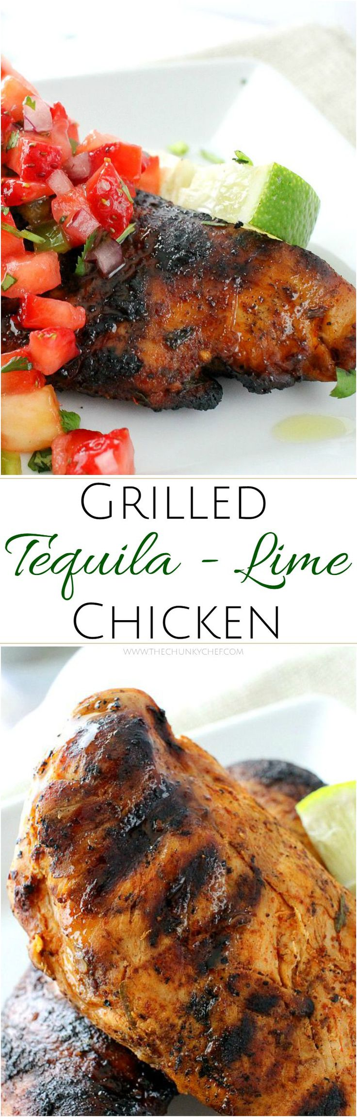 The Chunky Chef | Grilled Tequila Lime Chicken | A simple and easy marinade gives this tequila lime chicken an incredible flavor! Perfect on the grill, with a salsa, or in a taco/burrito bowl!