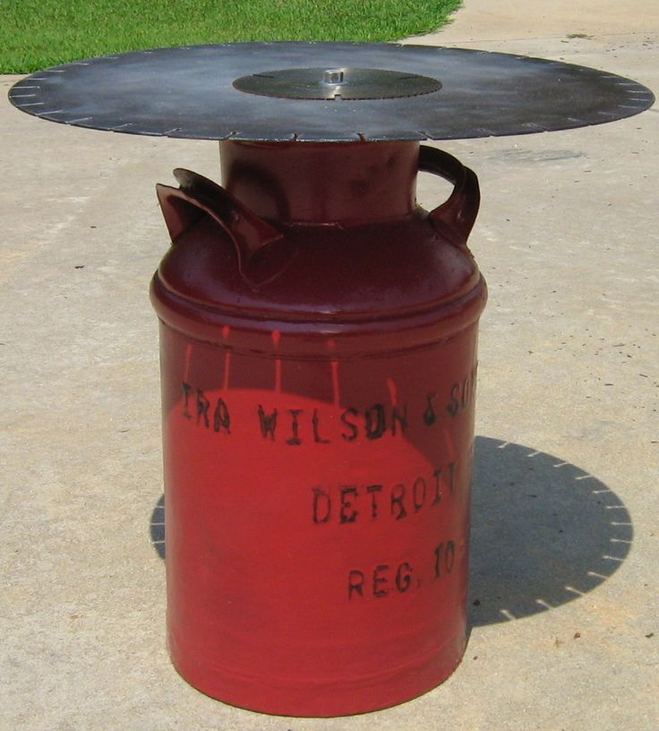 25 best ideas about milk can table on pinterest round for Milk can table ideas