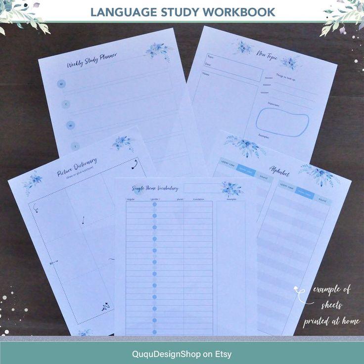 Language Learning Workbook | Language Study Printable | Learn Foreign Language PDF | ESL Learning |