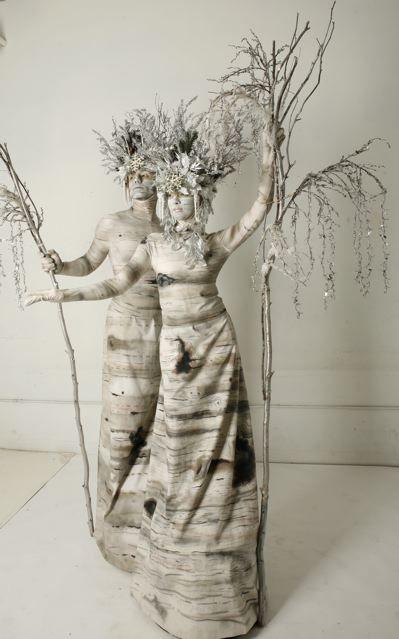 HOLIDAY   SMASH PARTY ENTERTAINMENT   NEW YORK - Living Statue Winter Birch Trees - http://www.smashpartyentertainment.com/holiday/