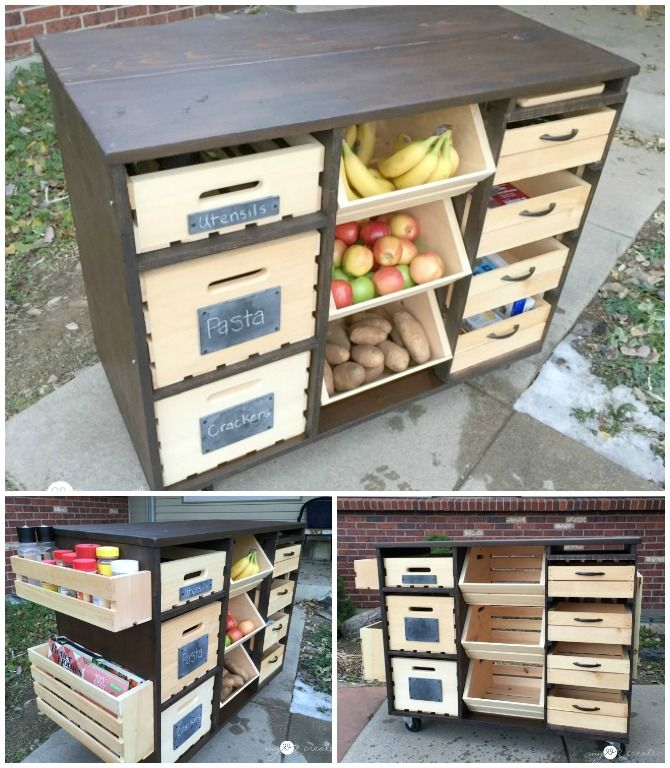 DIY Kitchen Island with Pantry Storage (Free Plan) Great for crafts, sewing and kids rooms too, maybe with different paint?
