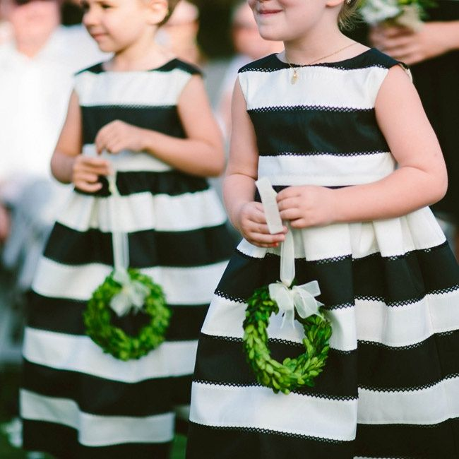 adorable flower girls in stripes for a classic summer wedding