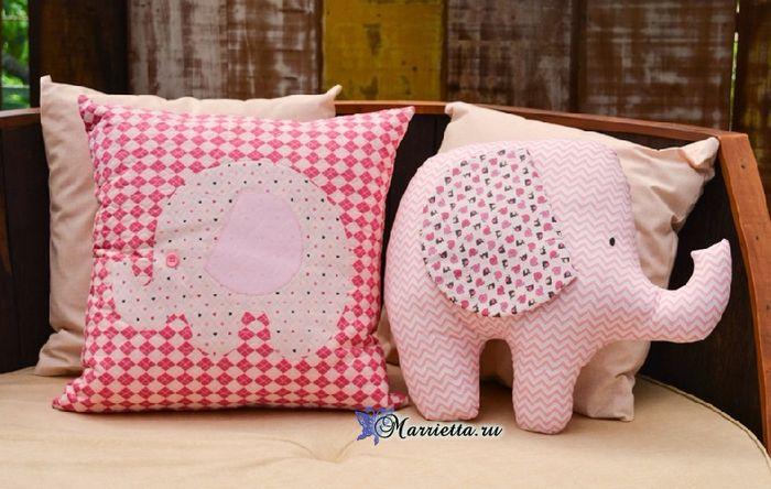 """""""Elephant"""" travesseiro infantil. Costurar-se (2) (700x444, 352KB)"""
