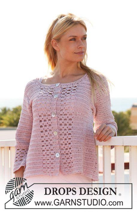 """Crochet DROPS jacket in """"Muskat"""". Size S - XXXL. ~ DROPS Design. free pattern."""