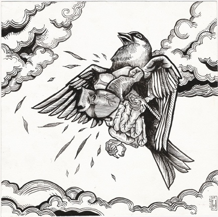 """Sparrow in Distress.    Ink on paper  Measures 8"""" x 8"""""""