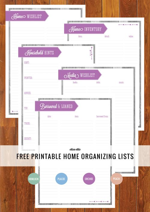 Free Printable Home Organizing Lists in Radiant Orchid, Placid Blue, Hemlock and Peach. #freeprintable #homeorganizing #homemanagement