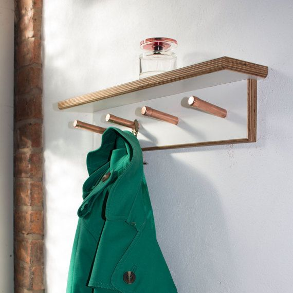Handmade contemporary modern coat hook,coat rack with shelf. Made with melamine birch ply and copper