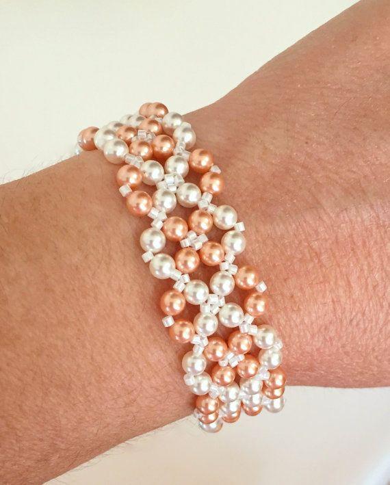 Pulsera de perlas brazalete de perlas de por DonnasGemsTreasures