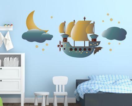 Fresh Ein fliegendes Schiff als Wandtatto f r das Kinderzimmer Da werden Kindertr ume war