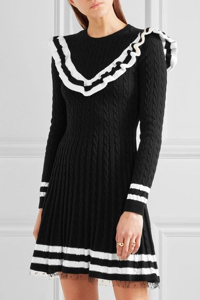 REDValentino - Point D'esprit-trimmed Ruffled Cable-knit Cotton Mini Dress - Black - x large