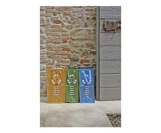 Set di 3 contenitori per raccolta diff. in pp Ricicla Bag