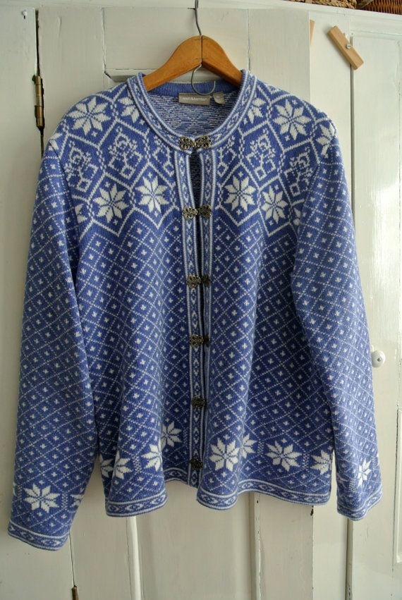 Retro Croft & Barrow Norwegian Sweater with Pewter Buttons-XL
