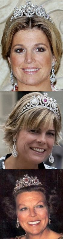 Dutch tiara created originally for Queen Emma. The central diamonds can be replaced by rubies, in part or all. (q. Maxima, ps Laurentian, fmr q. Beatrix)