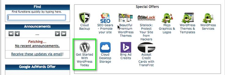 To install wordpress, click on the icon located on the left hand side, titled get started with wordpress today