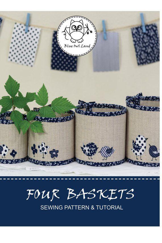 Four Baskets Sewing Pattern Basket Pattern Basket Pdf Pattern Bird Applique Patchwork Pincushio