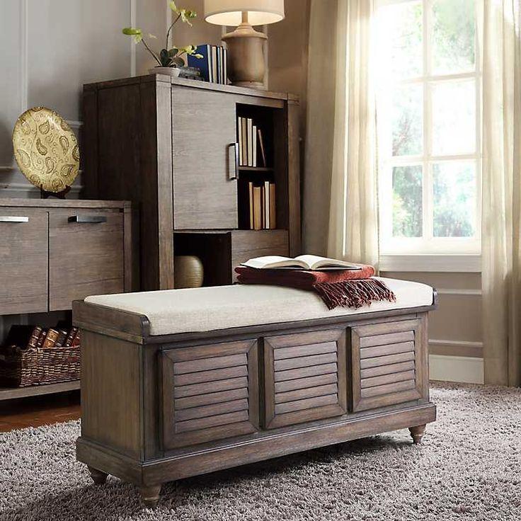 Brown Amara Shutter Storage Bench with Cushion from